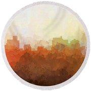 Round Beach Towel featuring the digital art Springfield Illinois Skyline by Marlene Watson