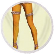 Stockings, Nylons And Legs Series By Mary Bassett Round Beach Towel