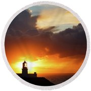Sunset At Strumble Head Lighthouse Round Beach Towel