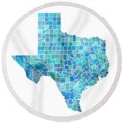 Texas Watercolor Map Round Beach Towel