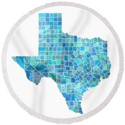 Texas Watercolor Map Round Beach Towel by Michael Tompsett