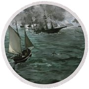 The Battle Of The U.s.s. Kearsarge And The C.s.s. Alabama Round Beach Towel