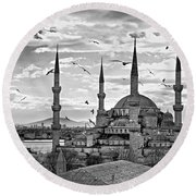 The Blue Mosque - Istanbul Round Beach Towel by Luciano Mortula