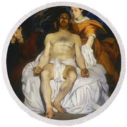 Round Beach Towel featuring the painting The Dead Christ With Angels by Edouard Manet
