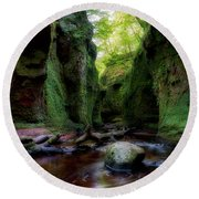 The Devil Pulpit At Finnich Glen Round Beach Towel