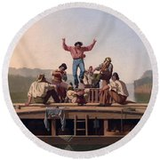 The Jolly Flatboatmen Round Beach Towel