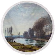 The Petit Bras Of The Seine At Argenteuil Round Beach Towel