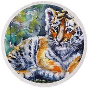 Round Beach Towel featuring the painting Tiger Cub by Kovacs Anna Brigitta