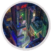 4 Times Square Round Beach Towel by Inge Johnsson