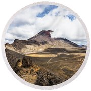 Tongariro Alpine Crossing In New Zealand Round Beach Towel