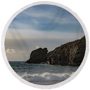 Round Beach Towel featuring the photograph Trevellas Cove Cornwall by Brian Roscorla