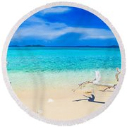 Tropical Beach Malcapuya Round Beach Towel