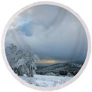 Typical Snowy Landscape In Ore Mountains, Czech Republic. Round Beach Towel