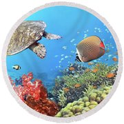 Underwater Panorama Round Beach Towel
