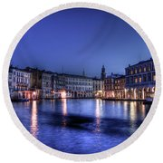 Venice By Night Round Beach Towel