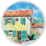 View Of Luberon Round Beach Towel