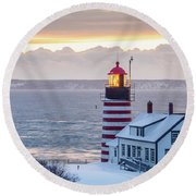 Round Beach Towel featuring the photograph West Quoddy Lighthouse by Trace Kittrell