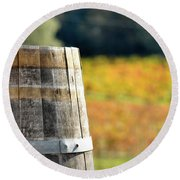 Wine Barrel In Autumn Round Beach Towel