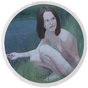 Young Naturist Round Beach Towel
