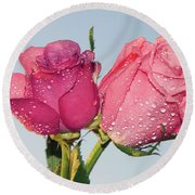 Two Roses Round Beach Towel by Elvira Ladocki