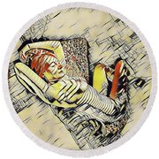 4248s-jg Zebra Striped Woman In Armchair By Window Erotica In The Style Of Kandinsky Round Beach Towel by Chris Maher