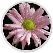 Pink Flower Round Beach Towel by Elvira Ladocki