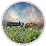 Round Beach Towel featuring the photograph 4376 by Peter Holme III