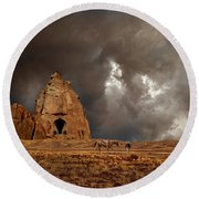 Round Beach Towel featuring the photograph 4398 by Peter Holme III