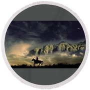 Round Beach Towel featuring the photograph 4403 by Peter Holme III