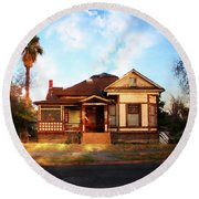 Round Beach Towel featuring the photograph 441 D Street by Timothy Bulone