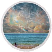 Round Beach Towel featuring the photograph 4410 by Peter Holme III