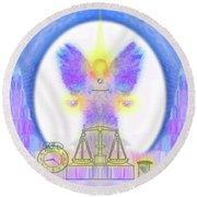Round Beach Towel featuring the digital art 444 Justice #197 by Barbara Tristan