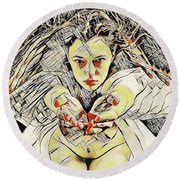4448s-ab The Succubus Comes For You Erotica In The Style Of Kandinsky Round Beach Towel
