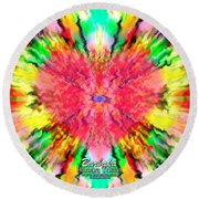 Round Beach Towel featuring the mixed media 444 Loves Vibration by Barbara Tristan