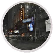 44th Street Nyc Round Beach Towel