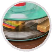 Round Beach Towel featuring the photograph 45 Rpm Record In Play Mode by Gary Slawsky
