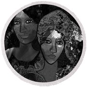 Round Beach Towel featuring the digital art 452 - Secrets Of Friendship by Irmgard Schoendorf Welch