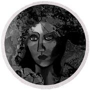 Round Beach Towel featuring the digital art 455 - Dark Dreamer by Irmgard Schoendorf Welch
