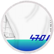 470 Olympic Sailing Round Beach Towel