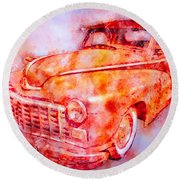 48 Dodge 3 Window Business Coupe Round Beach Towel