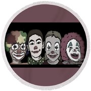 Round Beach Towel featuring the digital art 4happy Clowns 80 by Megan Dirsa-DuBois