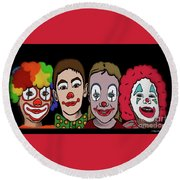 Round Beach Towel featuring the digital art 4happy Clowns by Megan Dirsa-DuBois