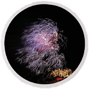 4th Of July - Bamboo Fireworks Round Beach Towel by Craig Wood