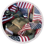 4th Of July Flags Round Beach Towel by John S