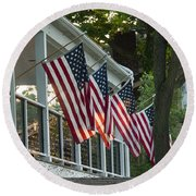 4th Of July Porch Round Beach Towel