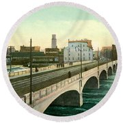 4th Street Bridge Waterloo Iowa Round Beach Towel
