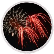 Round Beach Towel featuring the photograph Astoria Park Fireworks by Jim Poulos