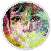 Round Beach Towel featuring the mixed media Audrey Hepburn by Svelby Art