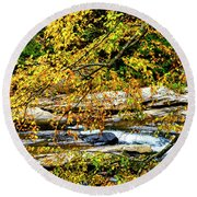 Autumn Middle Fork River Round Beach Towel