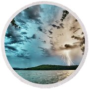 Beautiful Landscape Scenes At Lake Jocassee South Carolina Round Beach Towel
